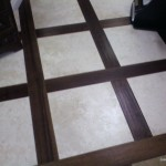 porcelain tiles and cherry wood flooring