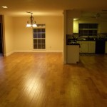 Hand scraped maple floors, kitchen and dining room