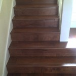 Hand scraped Spanish Hickory on steps