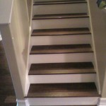Walnut flooring and stairs with white risers