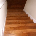Birch steps with white risers, descending
